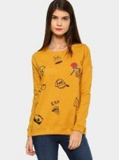 Abof Women Mustard Yellow Printed Nep Knit Regular Fit Sweatshirt for Rs. 1,295