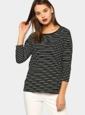 Abof Women Black Striped Regular Fit T-shirt for Rs. 595