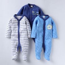 Buy Round Neck Blue Pack of 3 Footies from Hopscotch