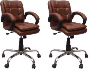 Buy VJ Interior Leatherette Office Arm Chair  (Brown, Set of 2) for Rs. 7,999