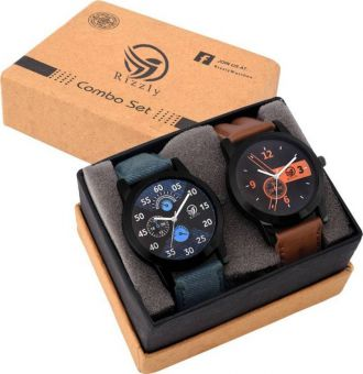 Flat 68% off on Rizzly Set Of Two Combo Watch  - For Boys