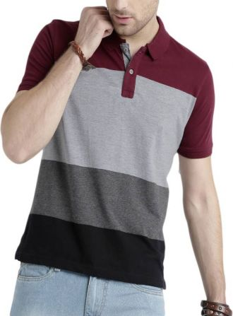 Flat 19% off on Cartyshop Striped Men's Polo Neck Multicolor T-Shirt