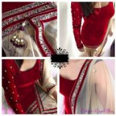Buy Stylish Red Velvet Semi Stiched patiala Suit from ShopClues