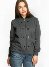 Buy Grey Solid Winter Jacket for Rs. 798