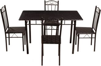 Get 57% off on Woodness Metal 4 Seater Dining Set  (Finish Color - Black)