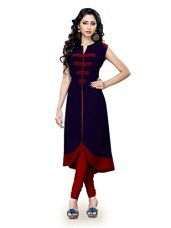Buy Nine Street Store Women's Banglori Silk Embroidered Semi-stitched Kurti - five0-five0_Blue and Orange_Free Size from Amazon