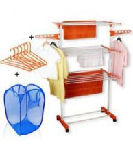 TNC Easy 3 Layer Mild Steel Power Dryer Cloth Drying Stand With Laundry Bag & 6 Pcs Hangers Combo Made In India for Rs. 1,599