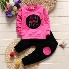 Buy Fuchsia High Five Print T-Shirt And Pant Set from Hopscotch