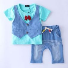 Buy Blue Waist Coat Style T-Shirt With Bow And Pant Set from Hopscotch