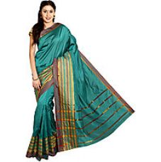 Buy Parchayee Green Cotton Striped Saree With Blouse from ShopClues