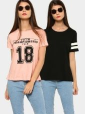 Abof Women Black & Light Pink Printed Pack of 2 Regular Fit Tops for Rs. 695