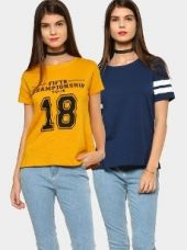 Buy abof Women Blue & Mustard Yellow Pack of 2 Regular Fit Tops from Abof