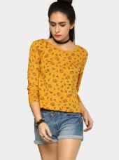 Abof Women Mustard Yellow Printed Regular Fit T-shirt for Rs. 595