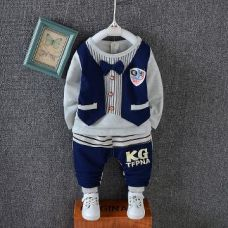 Buy Navy Vertical Stripes Full Sleeves Jacket Style T-Shirt and Pant Set from Hopscotch