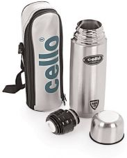 Buy Cello Lifestyle Double Wall 750 ml Flask  (Pack of 1, Silver) for Rs. 399