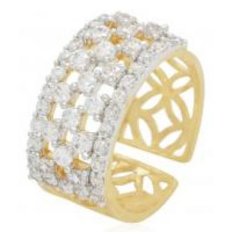 Flat 77% off on Aabhu Gold Plated American Diamond Trendy Designer Finger Ring Jewellery For Women and Girls Adjustable