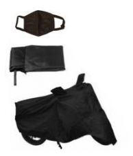 Buy HMS Bike Body Cover (Black)- For All Scooties and Bikes Upto 150cc with 1 PCS FACE MASK for Rs. 315
