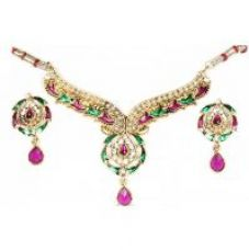Buy 14Fashions Classy Design Purple & Green Necklace Set - 1100414 from ShopClues