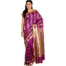 Buy Parchayee Purple Silk Printed Saree Without Blouse for Rs. 1379