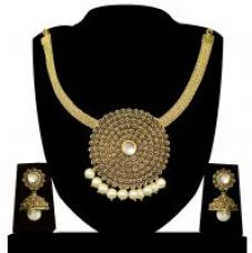 Buy Zaveri Pearls Antique Carved Necklace Set-ZPFK3762 from ShopClues
