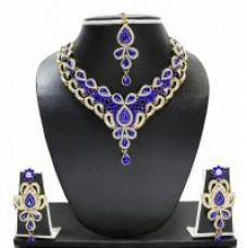 Buy Zaveri Pearls Silver Plated Silver  Blue Necklace Set For Women for Rs. 532