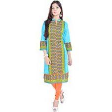 Get 78% off on Shop Rajasthan Green Printed Cotton Stitched Kurti