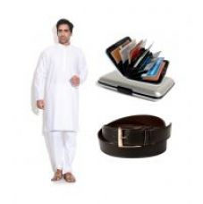 Buy Prime Club MenS White Kurta Pajama Set With Belt  Cardholder for Rs. 599