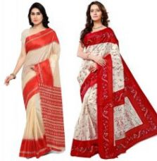 Buy Buy 1 Get 1 Free Triveni Silk Sarees (code-tsco161) for Rs. 499