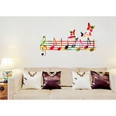 Wall Stickers Musical Notes Colourful With Butterflies Flying Home Decor Vinyl for Rs. 139
