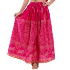 Get 71% off on Decot Paradise Pink Color  Goldeb Print cotton Regular fit long skirt