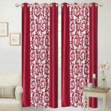 Get 90% off on iLiv Border Maroon Jaleb Designer Window curtain - 5feet set of 2