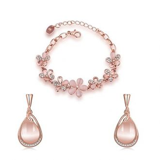 Buy Yutii Valentine Gifts Austrian Crystal 18k Rose Gold Plated Earrings and Bracelet for Girls and Women from Amazon