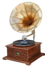 Crafts A To Z Antique Look Gramophone/ Wooden Handcrafted Vintage /Wood & Brass Gramophone for Rs. 5,499