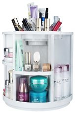 MISHOW 360 Rotating Cosmetic Organizer Large Capacity Durable Makeup Box Holder Makeup Display Rotating Storage Cosmetic Box Spinning Rack 360 Revolving White MSCS02W for Rs. 6,772
