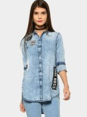 Buy abof Women Blue Badge Patch Relaxed Fit Denim Shirt from Abof