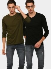 Abof Men Olive Green & Black Pack of 2 Slim Fit T-shirts for Rs. 795