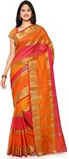 Vatsla Enterprise Women's Cotton Saree With Blouse Piece(Orange_Vpysfntasaree_Free Size) for Rs. 549