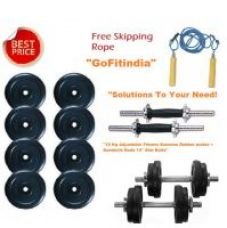 Get 72% off on 10 Kg Adjustable Fitness Extreme Rubber plates + Dumbells Rods 14