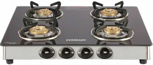 Get 48% off on Eveready TGC 4B RV Brass, Glass, Stainless Steel Manual Gas Stove  (4 Burners)