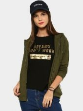 Abof Women Olive Green Nep Knit Regular Fit Hooded Sweatshirt for Rs. 1,295
