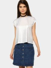 Abof Women Silver-toned Boxy Fit Lurex T-shirt for Rs. 795