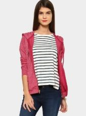 Abof Women Fuchsia Pink Regular Fit Hooded Sweatshirt for Rs. 1,095