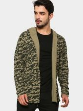 Abof Men Olive Green Camo Print Regular Fit Hooded Cardigan for Rs. 1,195