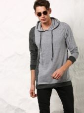 SKULT Men Light Grey Color Block Relaxed Fit Hoodie Tee for Rs. 1,199