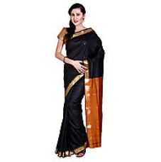 Flat 57% off on Parchayee Black Cotton Self Design Saree With Blouse