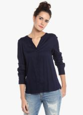 Buy Vero Moda Navy Blue Embroidered Shirt for Rs. 1250