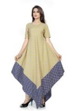 Get 50% off on Banorani Womens Beige & Blue Color Polycotton Printed Free Size Unstitched Kurti (code - Kur-5015)