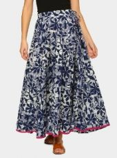 Buy abof Fusion Blue & White Printed Regular Fit Maxi Skirt from Abof