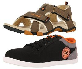Buy Lotto Mens's Combo Of Sandal & Globalite Casual Shoes GT7076_338SP from Amazon
