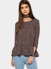 Buy abof Women Navy Blue & Red Printed Regular Fit Peplum Top from Abof